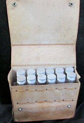 VINTAGE ABERCROMBIE's NEW YORK LEATHER MEDICAL TRAVEL  KIT WITH 12 GLASS VIALS