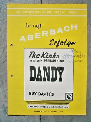 vintage 1966 Rock sheet music DANDY by THE KINKS written by Ray Davies