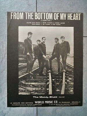 vintage 1965 Rock sheet music THE MOODY BLUES - From The Bottom Of My Heart