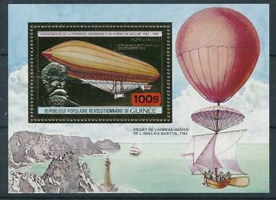 [16085] Guinea 1983 : Zeppelin - Good Very Fine MNH Sheet With Gold Stamp