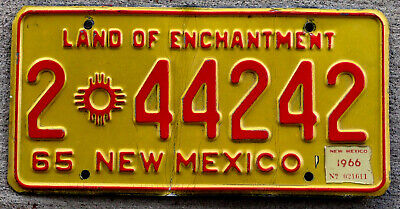 1965 Red on Yellow New Mexico License Plate #2 with a 1966 Sticker