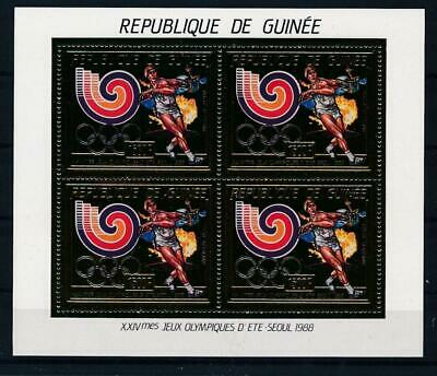 [G47882] Guinea 1988 : Olympics - Good Very Fine MNH Sheet Gold Stamps