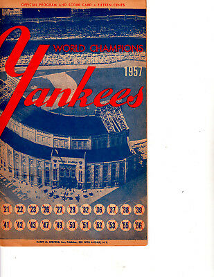 1957 New York Yankees Official Program very lightly scored in pencil vs Chicago