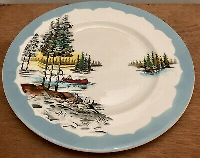CLARICE CLIFF ROYAL STAFFORDSHIRE CANADA CONFEDERATION SERIES PLATE Lake Scene