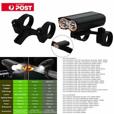 2400 Lumens USB Rechargeable Front BikeLight Bicycle Cycling Headlight Headlamp