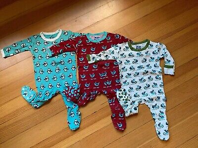 Kickee Pants Footies Lot of 3-Glacier Penguins, Brick Snow Bird and Natural Sled