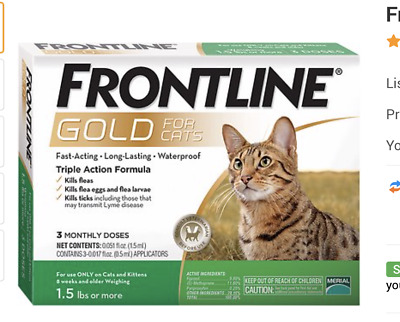 Frontline Gold For Cats And Kittens Over 3 Lbs 3 Doses Plus  Free Shipping !!!