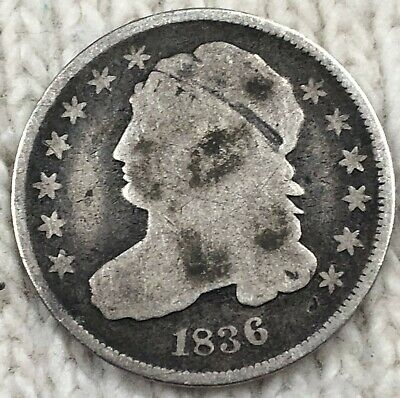 1836 Capped Bust Dime Silver Coin Better Circulatated Coin, No Reserve Free Ship