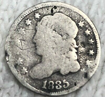 1835 Capped Bust Half Dime Silver Coin Okay Circulatated Coin, No Res Free SH