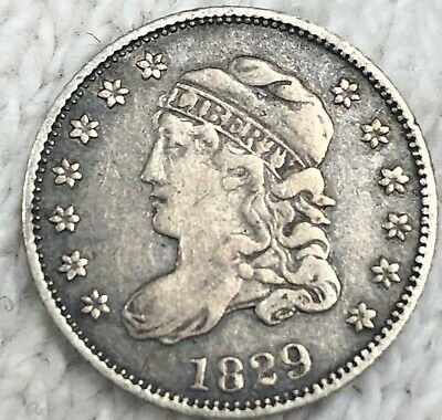 1829 Capped Bust Half Dime Silver Coin XF+ Circulatated Coin, No Res Free SHIP