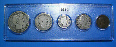 1912 US Coin Year Set 5 Coins 90% Silver