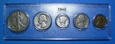 1942 US Coin Year Set 5 Coins 90% Silver