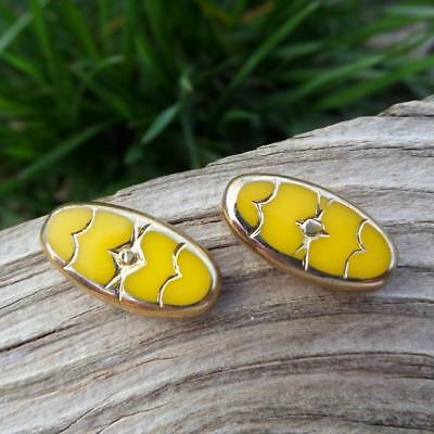 Vintage Rare Yellow Glass With 24kgf Gold Trim Oval ART Deco Glass Beads German