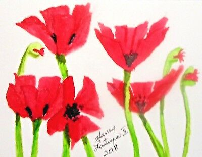 COLORFUL RED POPPIES-   ORIGINAL ACEO FLORAL WATERCOLOR by HENRY LASTRAPES