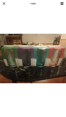 Coca Cola Maccas Purple ,pink,blue,& Gr Can Glasses Brand New In Packet
