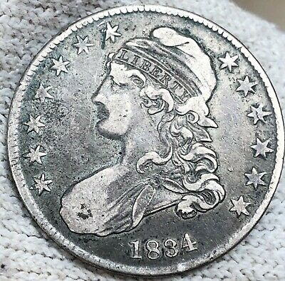 1834 Capped Bust Silver Half Dollar, Beautiful Extra Nice Circ Coin. No Reserve!