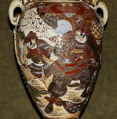 "Large 12"" Antique Japanese Satsuma Vase w/Handles Samurai Warriors Design SIGNED"