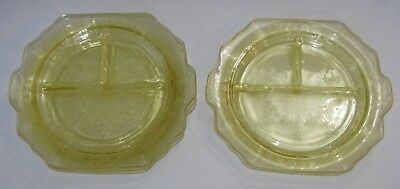 7 EAPG Anchor Hocking Princess Divided Pressed Depression Glass Dinner Plates