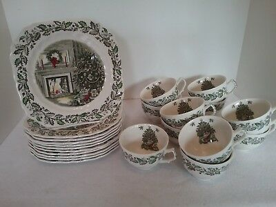 JOHNSON BROTHERS Merry Christmas SNACK SETS, Plate & Cup England, 11 Sets EUC