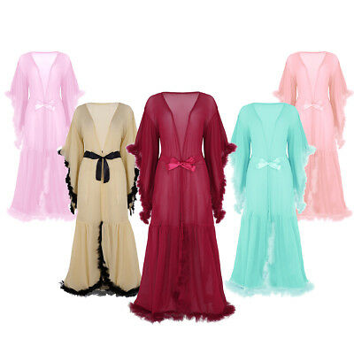 Sexy Lingerie Women Mesh Sheer Robe Dress Feather Nightdress Nightgown Sleepwear