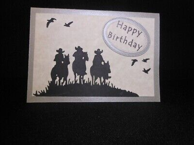 Birthday Card - Horse Riders & Birds Silhouettes - handmade includes envelope