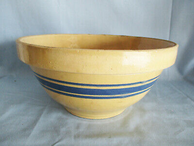 Vintage Hull 10 inch Yellow ware Kitchen Mixing Bowl with 3 blue bands