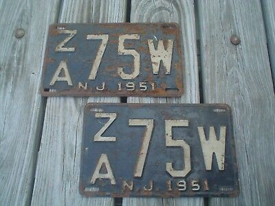 Matching Pair of Old Vintage Antique 1951 New Jersey NJ License Plates - ZA75W