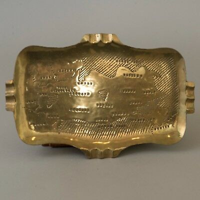 Vtg Brass Turkish Ashtray Turkey Map Islamic Middle Eastern Chased Repousse Dish