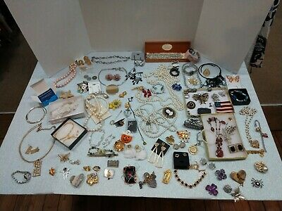 Huge Vintage to Now Estate Find Jewelry Lot Unsearched Untested