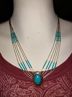 Navajo Liquid Sterling Silver & Turquoise 5 Strand 22 Long Necklace