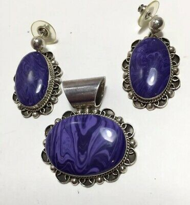 Fabulous Sterling Silver - MEXICO Charoite Dangle Post Earrings and Pedant Set