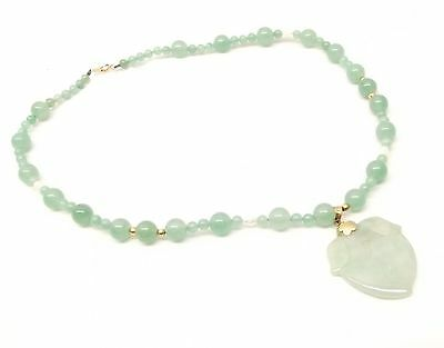 Vtg Carved Jadeite Jade Bead Necklace Pearl 14K Gold Peach Fruit Strand Chinese