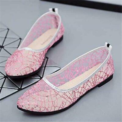hot sale Women's Lace Flats Mesh Sequins Slip On Breathable Casual Shoes