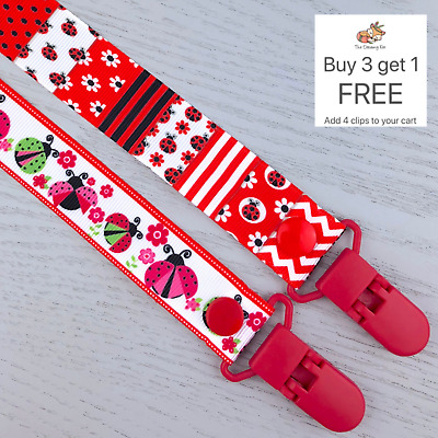 Dummy Clip pacifier chain dummie binky baby clips gift soother holder ladybug