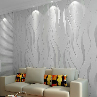 10M-Home-Decor-3D Wallpaper High-End-Luxury-Wave-Flocking-Wall Paper Rolls