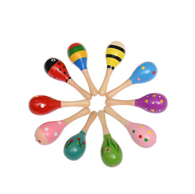 1/2/3/6Pcs Wooden Maraca Baby Child Musical Instrument Rattle Shaker Party To RT