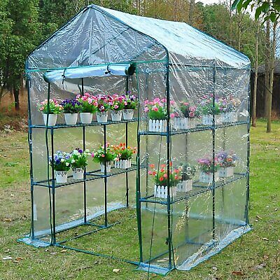 New Walk In Greenhouse PVC Plastic Garden Grow Green House with 8 Shelves