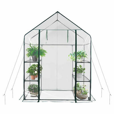 New Walk In Greenhouse PVC Plastic Garden Grow Green House with 4 Shelves