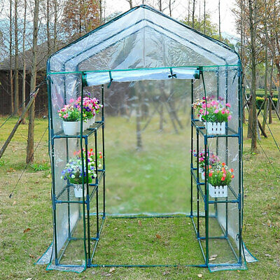 New Walk In Greenhouse PVC Plastic Garden Grow Green House with 4 or 8 Shelves
