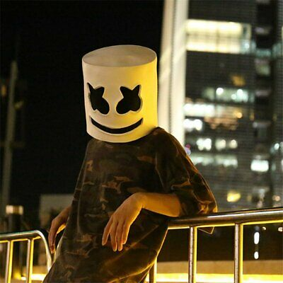 Fasching DJ Marshmello Maske Vollkopf Head Helm Musik Props Party Bar Cosplay