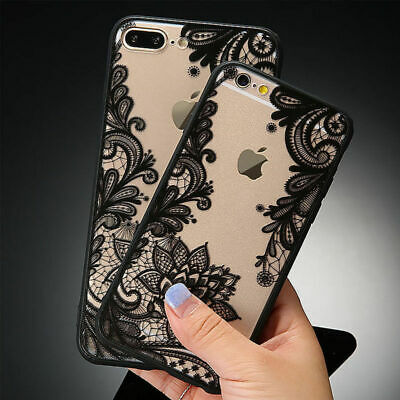 Ultra-thin Clear Silicone Flower Patterned Case Cover For iPhone X 8 7 6s Plus