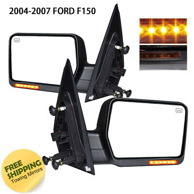 For 2004-2007 Ford F150 Yellow Signal Heated Power Tow Door Mirror Black Pair 2