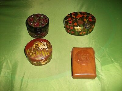 Three  Lovely Circular Hand Painted Wooden Boxes & Lids And Embossed Leather Box
