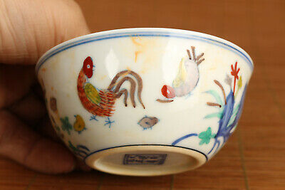 chinese old porcelain hand painting Art cock Statue tea cup bowl