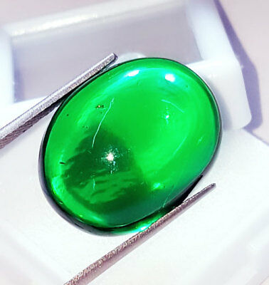 Oval Cabochon Che-tan Panna (Emerald) Loose Gemstone Beautiful 37.12 Ct