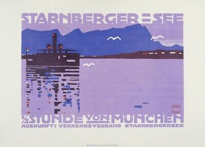 Starnberger-See, Germany, 1910, LUDWIG HOHLWEIN Vintage German Travel Poster