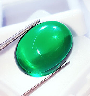 Oval Cabochon Che-tan Panna (Emerald) Loose Gemstone Beautiful 24.72 Ct