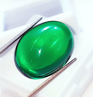Loose Gemstone Beautiful 38.62 Ct Oval Cabochon Che-tan Panna (Emerald)