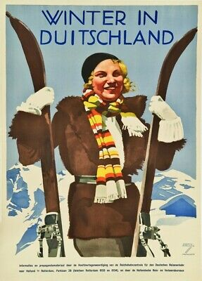 Winter in Germany, 1931, LUDWIG HOHLWEIN Vintage German/Dutch Travel Poster