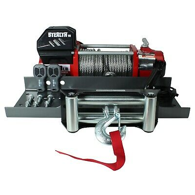Stealth V2 13000lb 12v Winch with Steel Rope & Mounting Plate